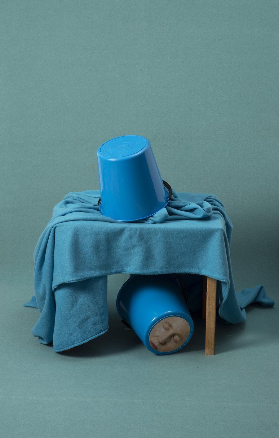 Bucket Portrait (blue under table)